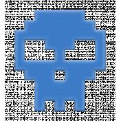 Video Game Valentine Rubber Stamp- Skull Blue
