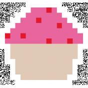 Video Game Valentine Sticker Cupcake