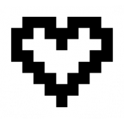 Video Game Valentine Sticker Heart2 Outline2