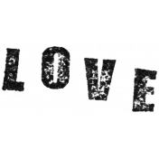 Stamped Word Art Love
