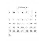 Monthly Calendar Journal Card 3x4 2016 01