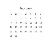 Monthly Calendar Journal Card 3x4 2016 02