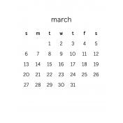 Monthly Calendar Journal Card 3x4 2016 03