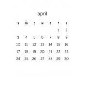 Monthly Calendar Journal Card 3x4 2016 04