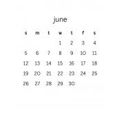 Monthly Calendar Journal Card 3x4 2016 06