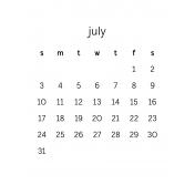 Monthly Calendar Journal Card 3x4 2016 07
