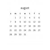 Monthly Calendar Journal Card 3x4 2016 08