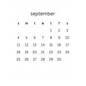 Monthly Calendar Journal Card 3x4 2016 09