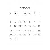 Monthly Calendar Journal Card 3x4 2016 10