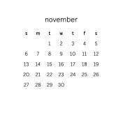 Monthly Calendar Journal Card 3x4 2016 11