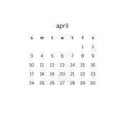 Monthly Calendar Journal Card 4x4 2016 04