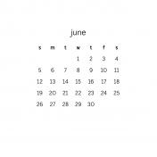 Monthly Calendar Journal Card 4x4 2016 06