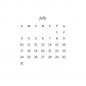 Monthly Calendar Journal Card 4x4 2016 07