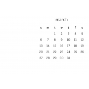 Monthly Calendar Journal Card 4x6 2016 03