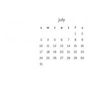 Monthly Calendar Journal Card 4x6 2016 07