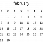 Monthly Calendar February 2016