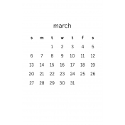 Monthly Calendar Half Letter March 2016