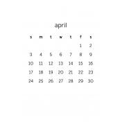 Monthly Calendar Half Letter April 2016