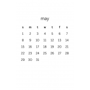 Monthly Calendar Half Letter May 2016