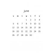 Monthly Calendar Half Letter June 2016