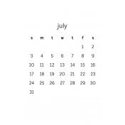Monthly Calendar Half Letter July 2016