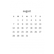 Monthly Calendar Half Letter August 2016