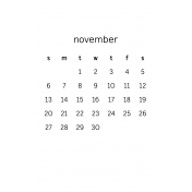 Monthly Calendar Half Letter November 2016