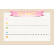 Baby On Board- Journal Cards 6x4- Fav Names Pink