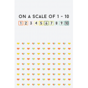 Food Day- Journal Cards- Scale to 10- 4x6