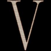 Winter Day Alphas-Uppercase V- Wood Serif