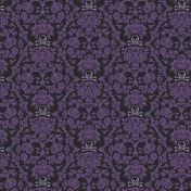 Gothical Papers- Paper 02- Purple Damask Skulls