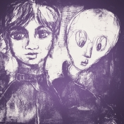 Gothical Papers- Paper 05- Girl & Ghost Purple