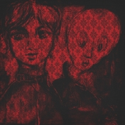 Gothical Papers- Paper 06- Girl & Ghost Red Damask