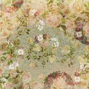 Jane - Flowers On Green Linen Paper