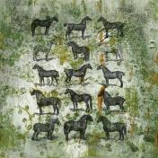 Jane- Green Vintage Horses Paper