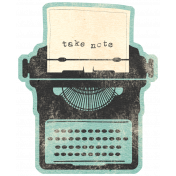 Work Day- Elements- Teal Typewriter