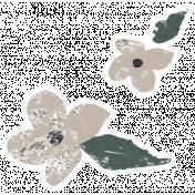 Winter Day Cards Elements- Beige Flower Glitter