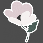 Winter Day Elements- Cream Pink Flower