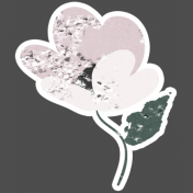 Winter Day Elements- Cream Pink Flower Glitter