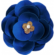 Reflections At Night- Blue Paper Flower With Pearl