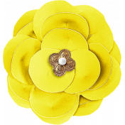 Reflections At Night- Yellow Paper Flower With Pearl