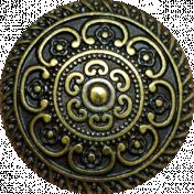 A Little Sparkle {Elements}- Gold Metal Ornate Button