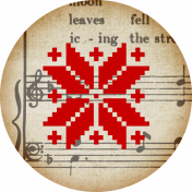 A Little Sparkle {Elements}- Red Snowflake and Brown Music Tag