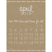 Toolbox Calendar- April Written Journal Card