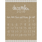 Toolbox Calendar- December Written Journal Card