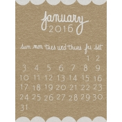 Toolbox Calendar- January Written Journal Card