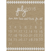 Toolbox Calendar- July Written Journal Card