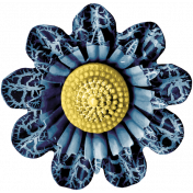 Summer Day- Blue Fabric Flower Brooch