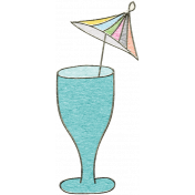 Summer Day- Blue Drink with Parasol