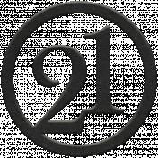 Toolbox Numbers- Black Circle Number 21